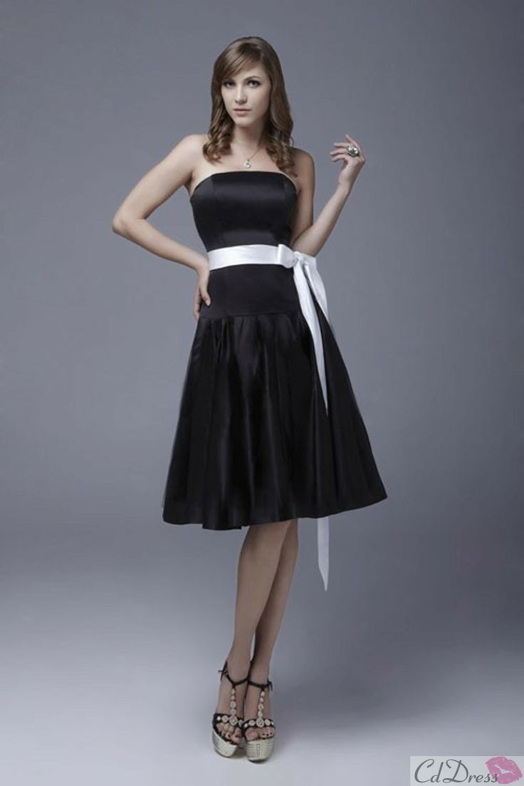 673 best weddings images on pinterest marriage wedding stuff short black and white knee length satin bridesmaid dress bridesmaids dresses wedding party dresses wedding events ombrellifo Image collections