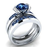 Wish | For Women's 1.00ct Round-Cut Blue & White Sapphire 925 Silver Bridal Set Ring size 6 7 8 9 10