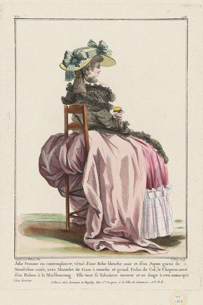 Jolie Femme en contemplative, vêtuë d'une Robe blanche unie et d'un Jupon garni de Mousseline raïée, avec Mantelet de Gaze à mouche et grand Fichu de Col, le Chapeau noué d'un Ruban à la Marlborough, Gallerie des Modes, 1784