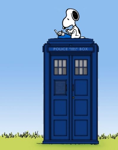 Hehe. Snoopy probably writes all his stories based on the Doctor. ;] Snoopy probably is a Time Lord and Woodstock is his Companion.