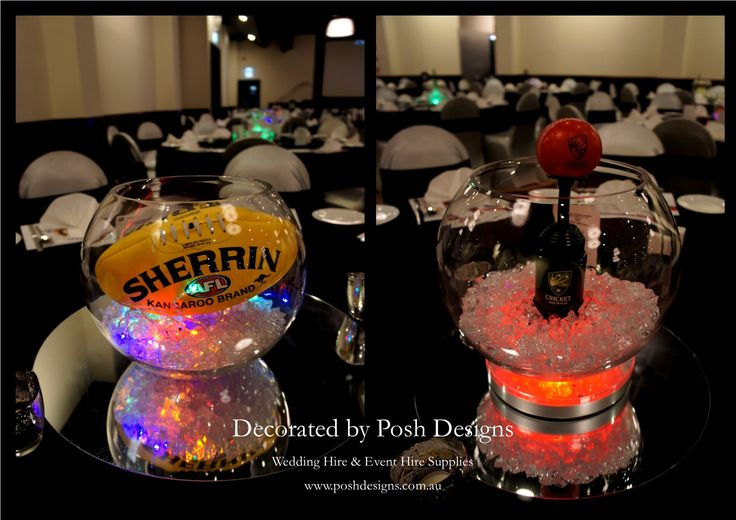#fishbowltablecentres #afltheme #crickettheme #corporate #event #theming available at #poshdesignsweddings - #sydneyfunctions #southcoastfunctions #wollongongfunctions #canberrafunctions #southernhighlandfunctions #campbelltownfunctions #penrithfunctions #bathurstfunctions #illawarrafunctions All stock owned by Posh Designs Wedding & Event Supplies – lisa@poshdesigns.com.au or visit www.poshdesigns.com.au or www.facebook.com/.poshdesigns.com.au