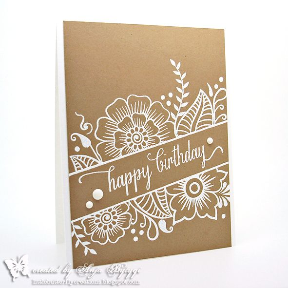 handmade birthdayt card from Little Butterfly Creations: DT-Card Everybody-Art-Challenge #287 ... kraft with white embossing  and enamel dots ... luv the look!! ... great card!