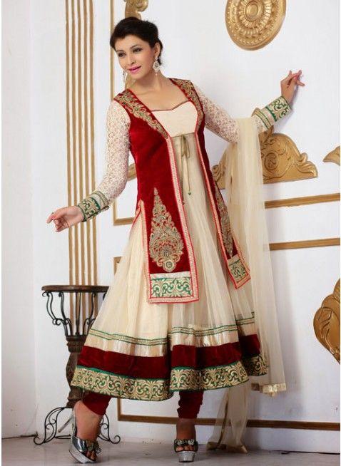 Melodic Beige & Maroon Net & Velvete Embroidered #Salwar_Kameez