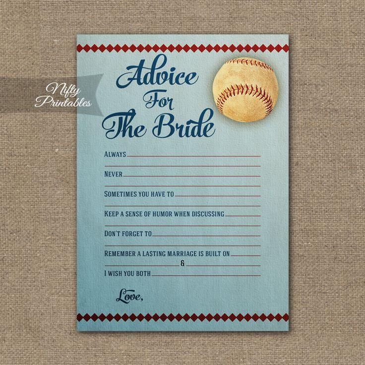 Bridal Shower Advice Cards – Baseball