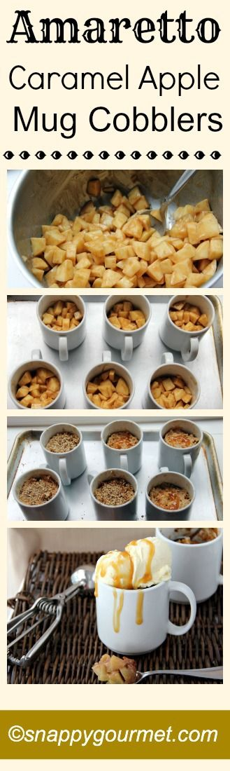 Amaretto Caramel Apple Mug Cobblers Recipe   snappygourmet.com