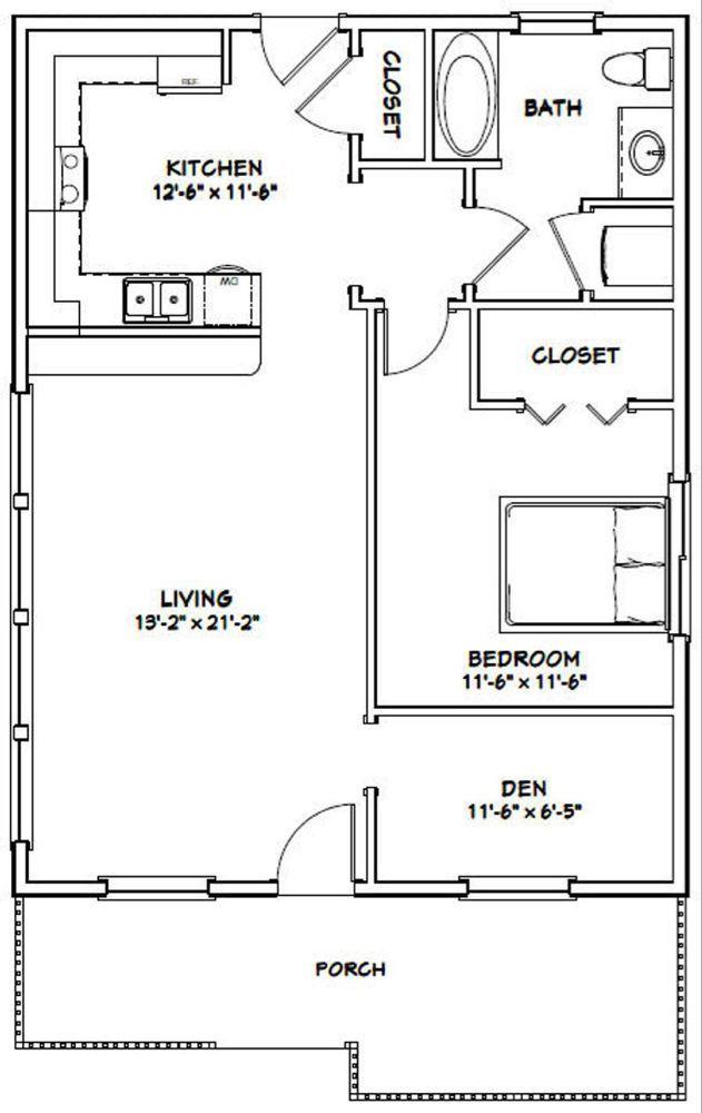 Floors Plans 26x34 House 1 Bedroom 1 Bath 884 Sq Ft Pdf Floor Plan Instant Download Grundrisse Kleiner Hauser Kleine Hausplane Haus Bodenbelag
