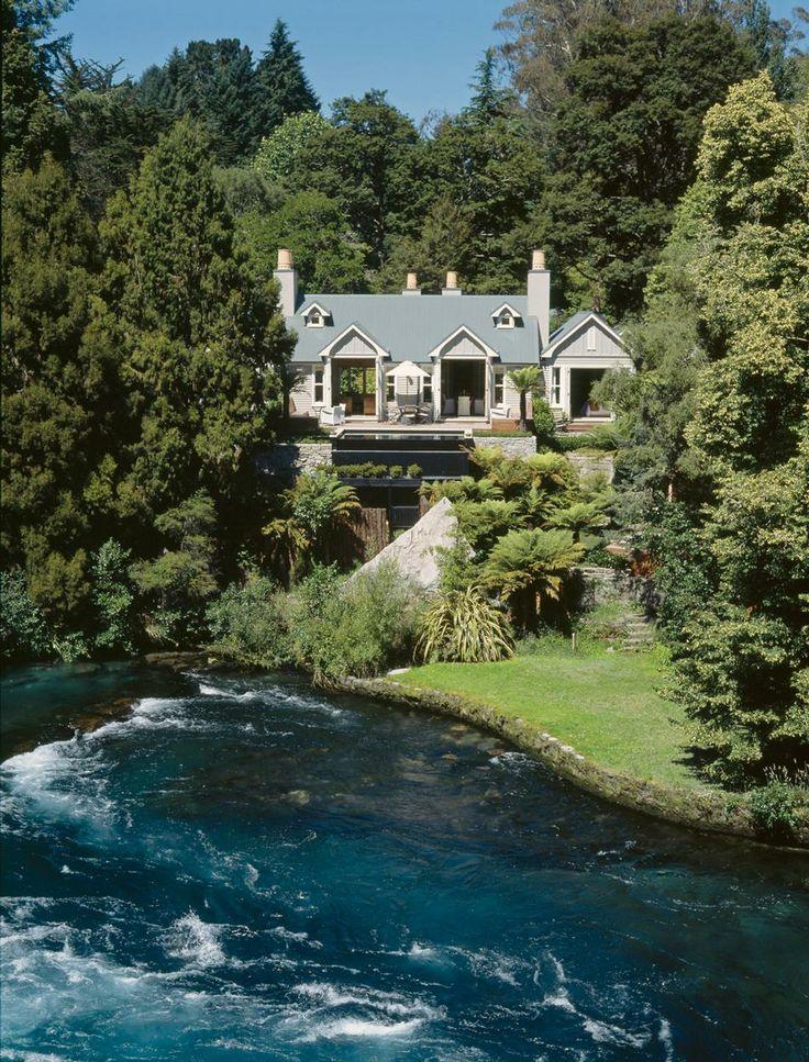 Huka Lodge in New Zealand, the best getaway set in the beautiful scenery of  New Zealand. Dreamy.