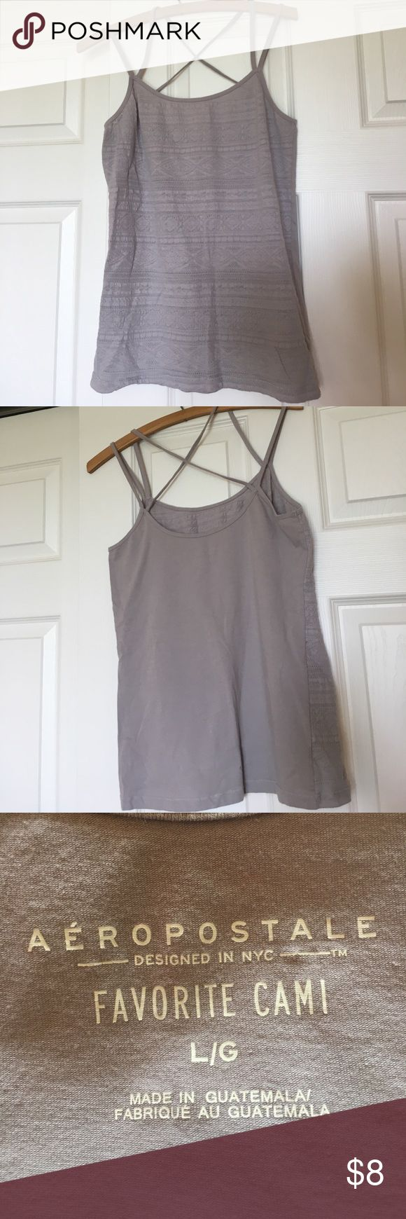 Strappy grey cami with front fabric design Aeropostale favorite cami in Large with fun front fabric design. Aeropostale Tops Camisoles