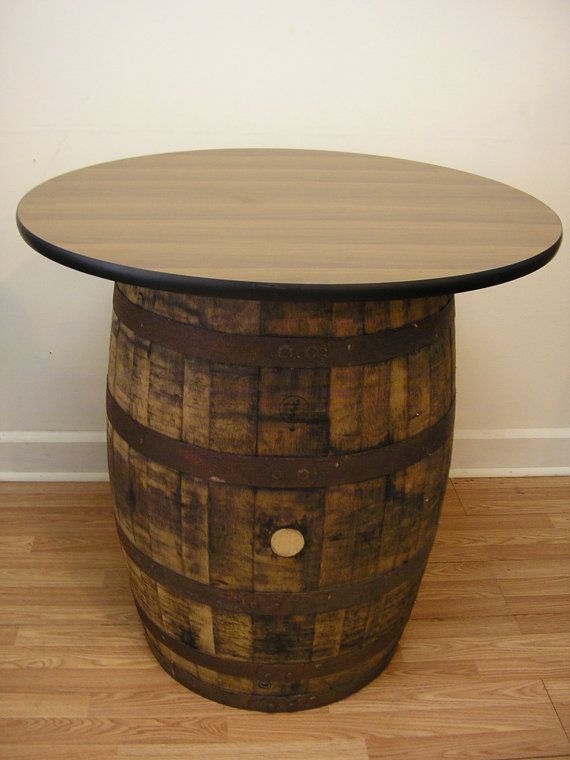 Vintage Oak Whiskey Barrel Table With 36 Quot Walnut Table Top