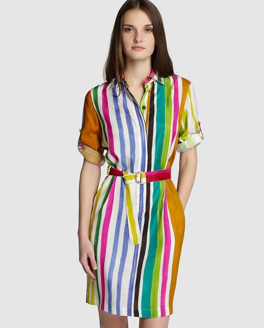 Vestido camisero de mujer Mirto con estampado de rayas multicolor
