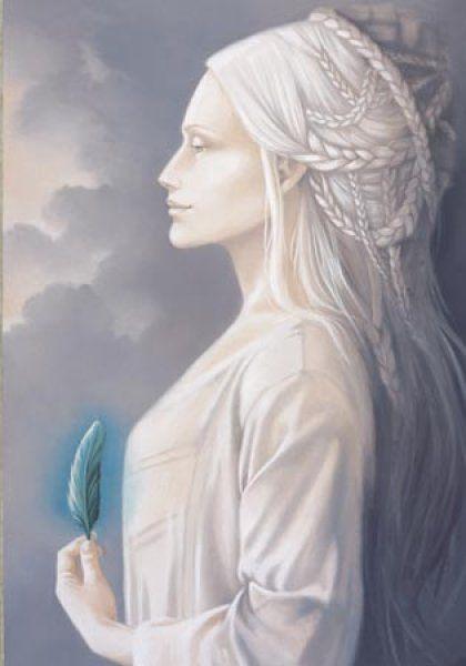 DAMES BLANCHES = (Légendes Europe & État-Unis) Mythes ou apparitions de natures diverses. Il peut s'agir soit d'entités surnaturelles tenant les rôles de fées, de sorcières, de lavandières de la nuit ou d'annonciatrices de mort prochaine, soit de fantômes de femmes décédées lorsqu'il s'agit de spectres hantant des châteaux ou d'auto-stoppeuses fantômes. (Illustration : SANDRINE GESTIN - Dame blanche)