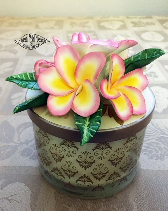 Scented Candle with Pink & Yellow Plumeria by ArtisanPetalDesigns