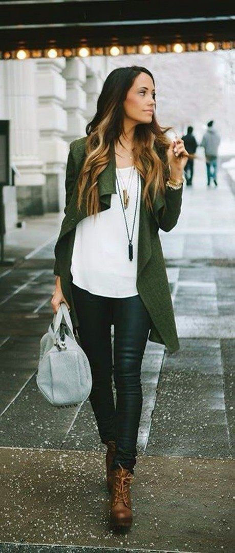 Khaki cardigan with leather leggings are appropriate in the office looks