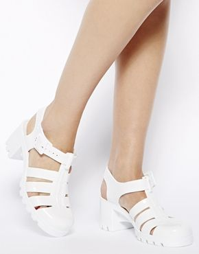 Shop JuJu Babe White Heeled Jelly Sandals at ASOS.