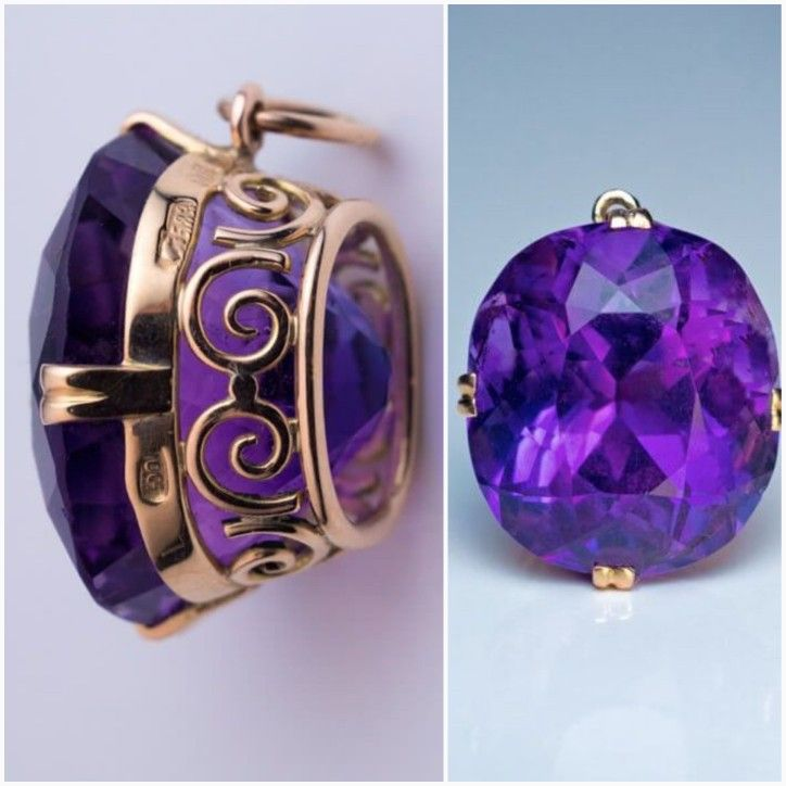 Vintage Russian Siberian Amethyst Gold Pendant. Made in Moscow in the 1930s. This 14k Gold pendant features a sparkling medium purple cushion-cut Siberian Amethyst measuring 16x14.1x11.2 mm, approximately 14.73 ct. The pendant is marked on frame with early Soviet assay mark for 583 Gold standard and maker's mark. Siberian Amethysts are no longer mined. They are rare and could be found only in antique jewelry from the Tsarist era or early Soviet era (1930s-1950s).|| Romanov Russia