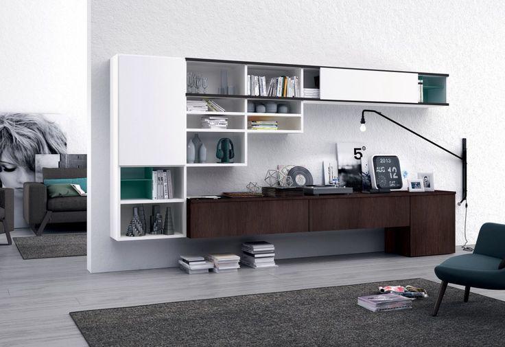 comp. L112 - parete attrezzata per #casa o #ufficio presentata con una serie di contenitori sospesi e di sicuro effetto scenografico e funzionale.