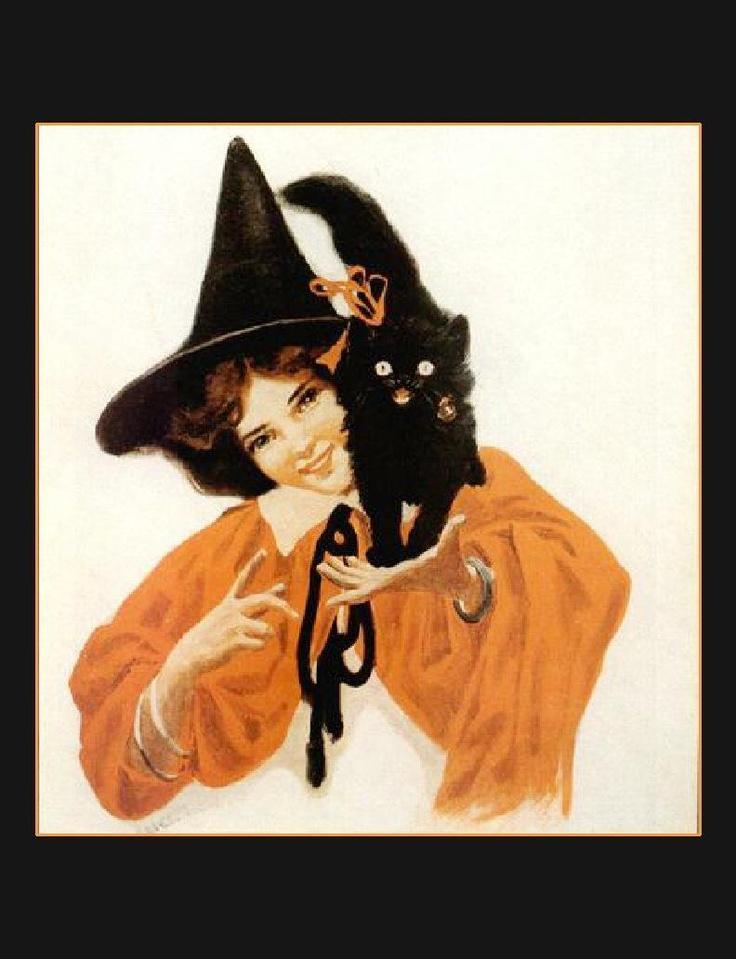 Vint. Halloween Pretty Witch Black Cat Kitten Holiday | eBay
