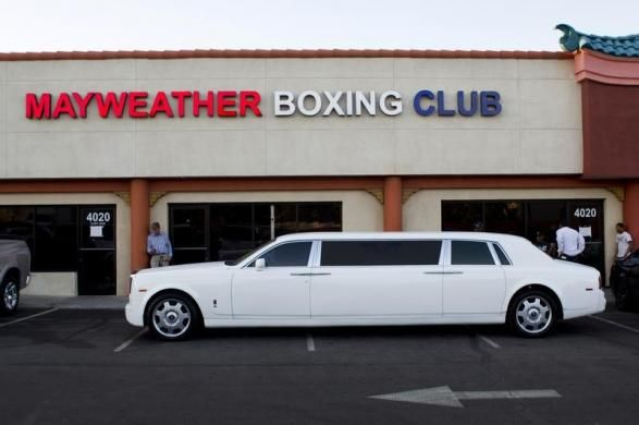Floyd Mayweather Jr.'s Rolls Royce limousine is seen outside the Mayweather Boxing Club in Las Vegas, Nevada April 22, 2014. The World Boxing Council (WBC) welterweight champion is preparing for his fight against World Boxing Association (WBA) champion Marcos Maidana of Argentina at the MGM Grand Garden Arena in Las Vegas on May 3. REUTERS/Steve Marcus