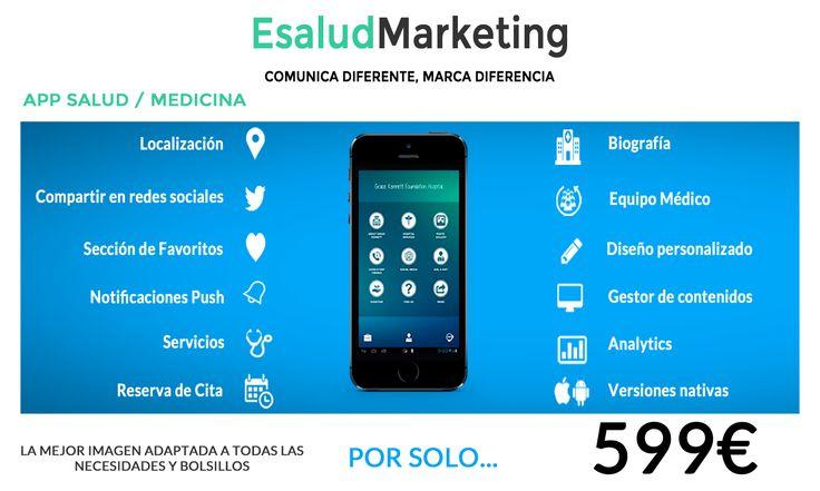 App salud/medicina  La mejor imagen adaptada a todas las necesidad y bolsillos. Visita nuestra web: www.esaludmarketing.com #appsalud #esalud #msalud #clinica #centromedico