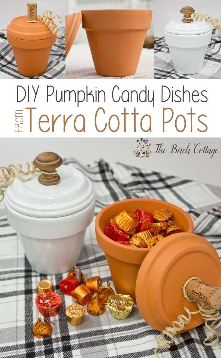How to make Pumpkin Candy Dishes from Terra Cotta Pots by The Birch Cottage                                                                                                                                                                                 More