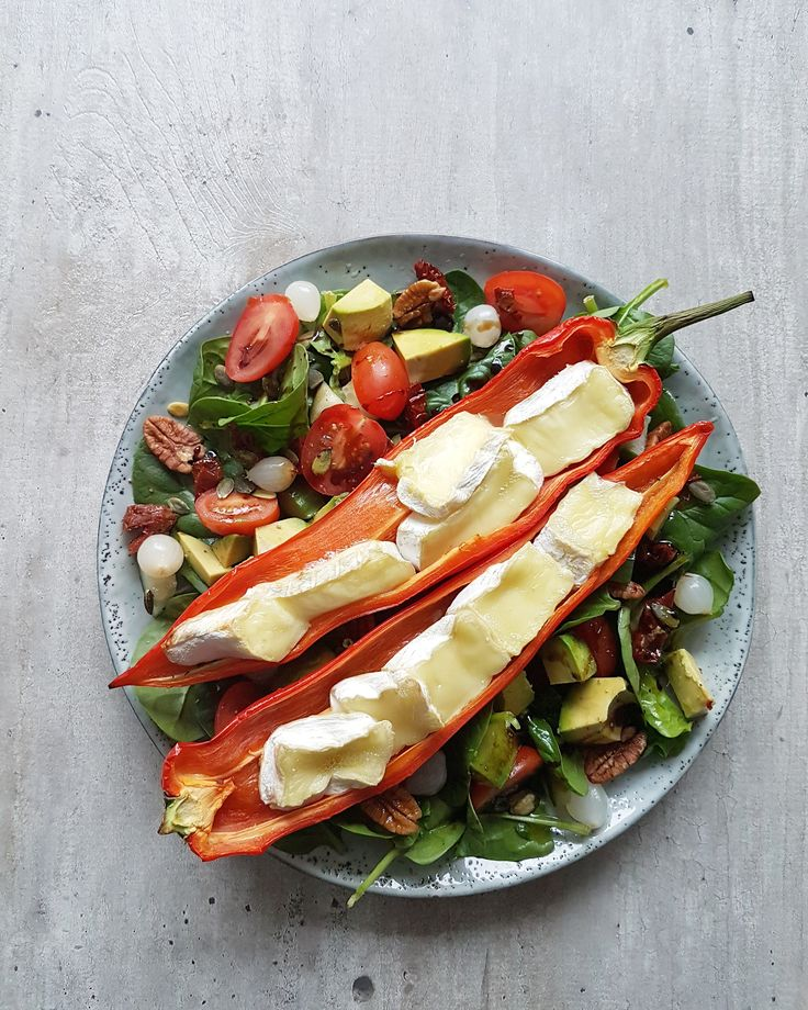 Spinach Salad with grilled peppers and brie!