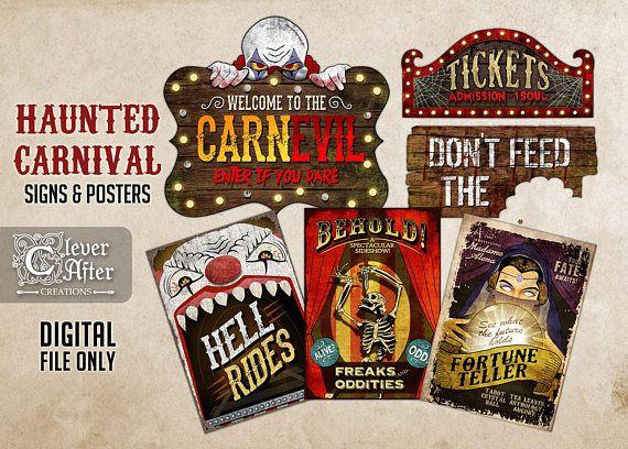 Haunted Carnival Signs Halloween Vintage Circus Printable