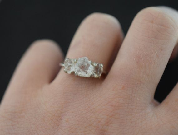 Trillion Engagement Ring Rough Diamond Ring Raw Diamond by Avello