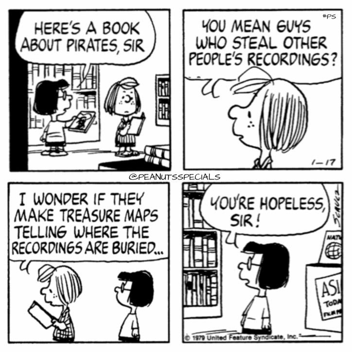 First Appearance: January 17, 1979 #peanutsspecials #ps #pnts #schulz #peppermintpatty #marcie #book #pirates #sir #guys #steal #peoples #recordings #treasure #maps #buried #hopeless www.peanuts.com