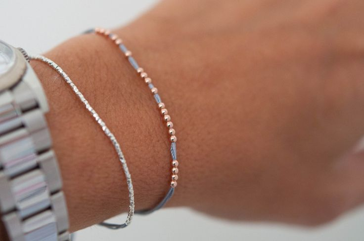 14k rose gold beaded bracelet - Vivien Frank Designs