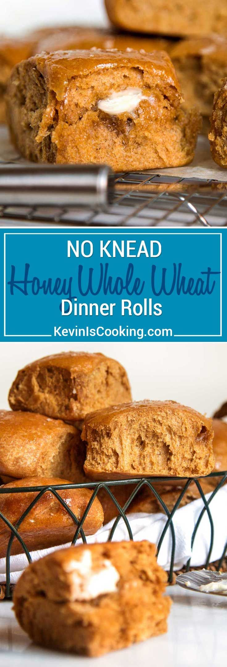 What I love about these light and airy No Knead Honey Whole Wheat Dinner Rolls is there's no mixer required and the honey and wheat flavor is a nice change from the regular white bread version. Grab a bowl and spoon and let's get to it, you have guests coming for dinner! via @keviniscooking #rolls #easy