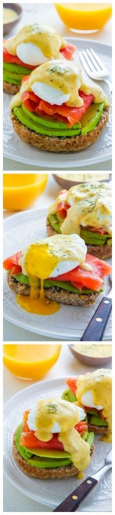 Smoked Salmon and Avocado Eggs Benedict - WHOA! This is so delicious.