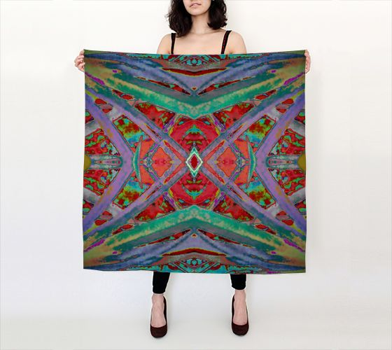 Designs that inspire fun. These works of #wearable-art now seen at my #ArtofWhere #shop called Colour Harmonix. This #silk scarf is my latest creation in the ElectricPalm© #collection.