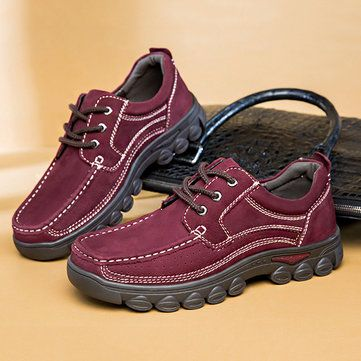 US Size 6.5-12 Men Leather Wear Resistant Business Casual Lace Up Oxfords - US$62.99