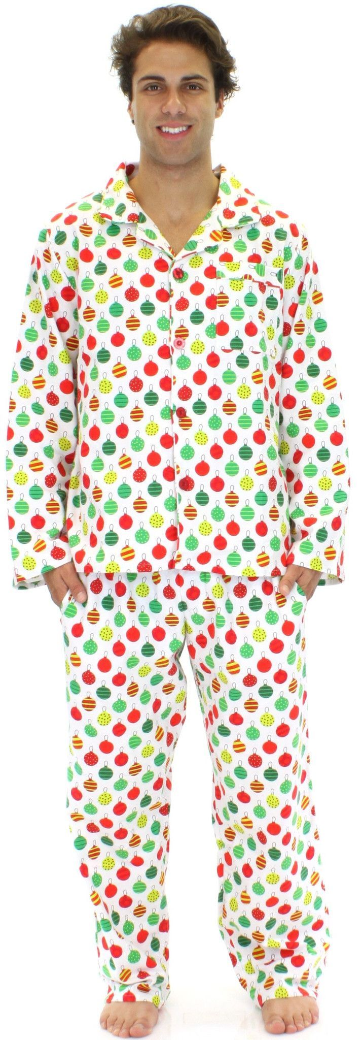 The pajamas are made of 100% flannel cotton. Perfect to keep you warm all holiday long! The pants include 2 side pockets, a functional button fly, and an all-around elastic waistband with a drawstring