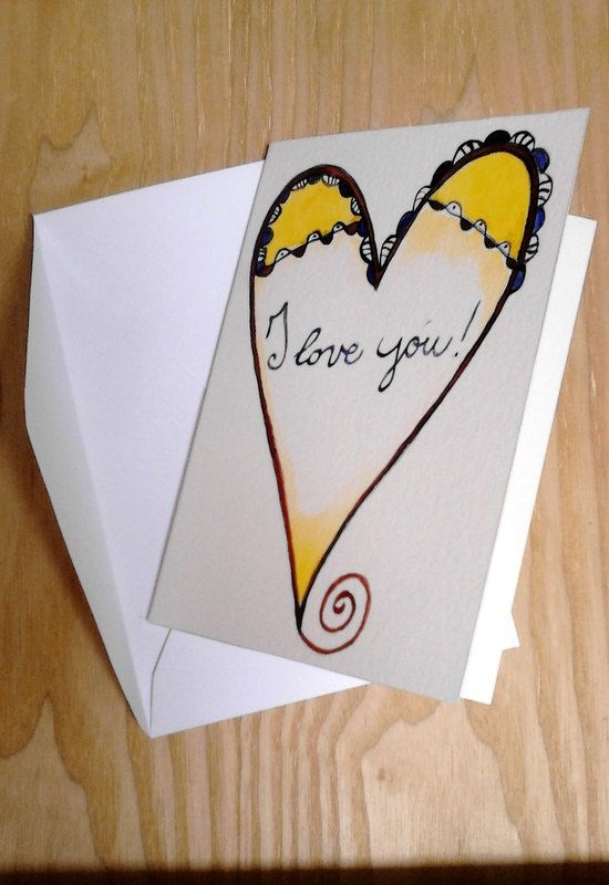 I love you  Watercolor Greeting Card   Handmade by viadeitigli  Sometimes takes very little to express our love to those we love!  #italiasmartteam