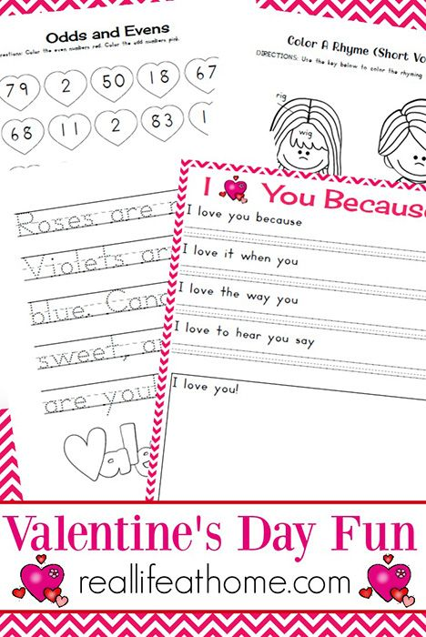 Free Valentine Printables (no email address or opt in required)! Eight Page Valentine's Day Fun and Learning Printables Packet for Kids