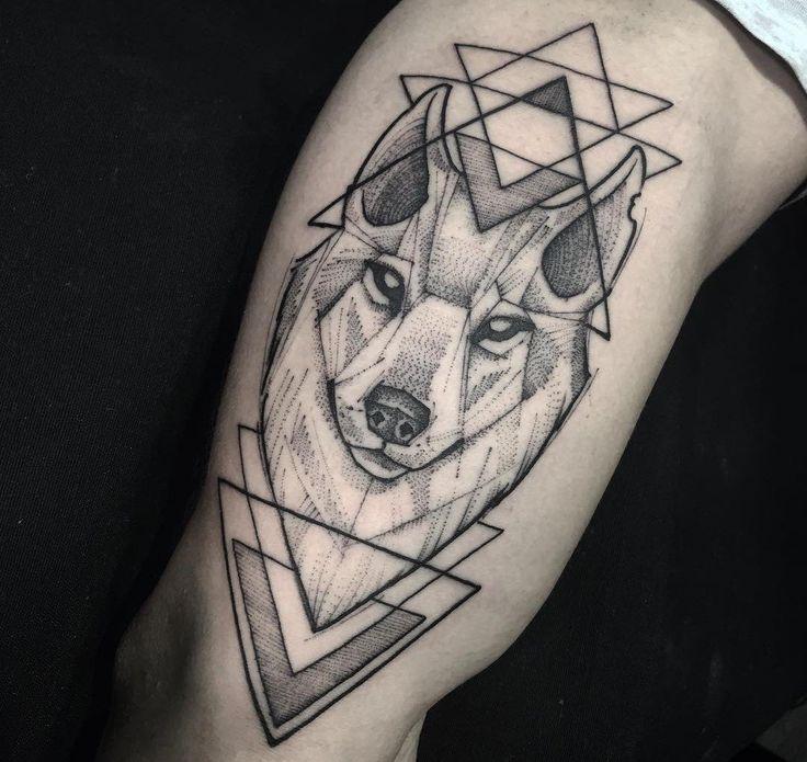 Geometric Wolf Tattoo, Tribal Tattoos, Tattoos Skull, Head Tattoos, Wolf Tattoos, Body Art Tattoos, Wolf Pack Tattoo, Wolf Tattoo Sleeve, Best Sleeve Tattoos