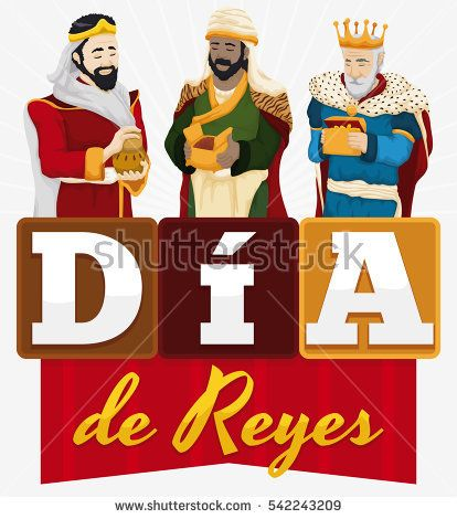 """Poster with the Three Magi holdings their gifts with ribbon and letters forming a greeting message to celebrate Spanish """"Dia de Reyes"""" or Epiphany celebration."""