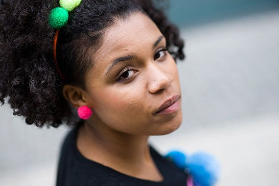 handmade stud earrings with pink pompoms fluorescent by bimabejbe, €6.00