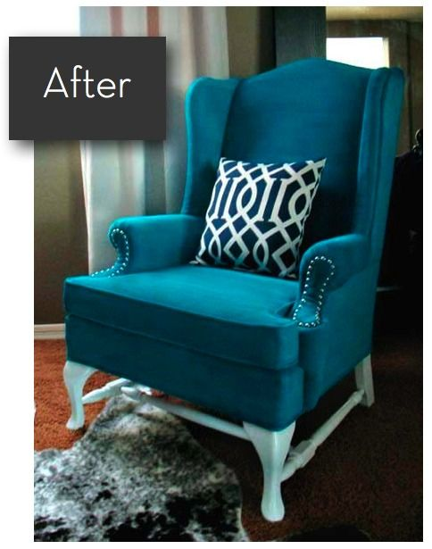 Don't reupholster, repaint! Step-by-step instructions on how to paint upholstery if the furniture is in great shape, just not your color scheme.  This is a good idea for my outdated couch...... I like this chair and color