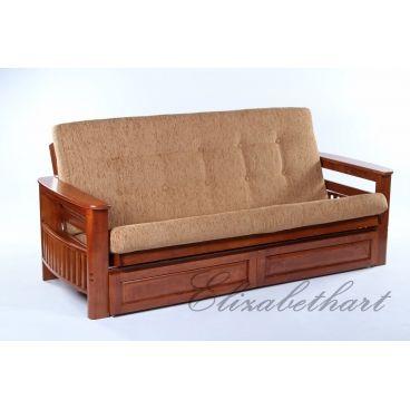 Диван-кровать с ящиком, цвет: Темный орех, 95*216*80 см., Ратан