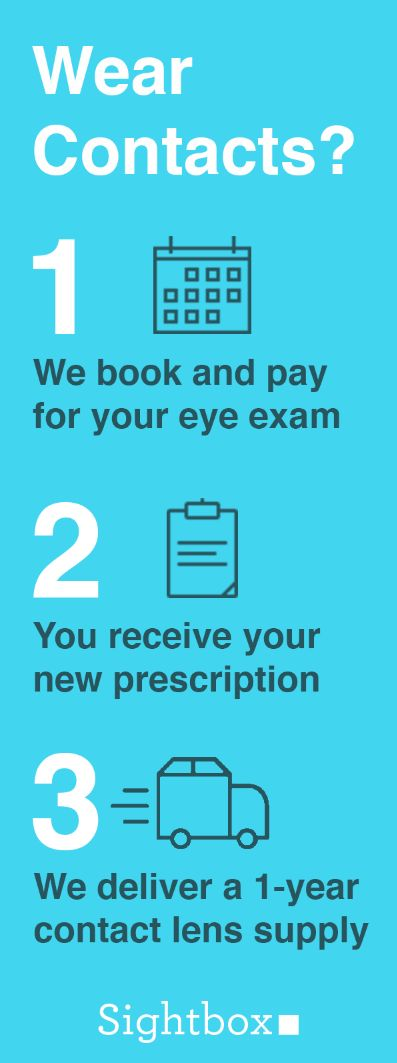 Sightbox is the simplest way to get contact lenses and a new prescription. We book your exam, pay for it, then deliver a 1-year supply of contact lenses. We take care of all the details and offer monthly payments, so you can avoid high upfront costs. Sign up now –– our team is standing by ready to get to work for you!