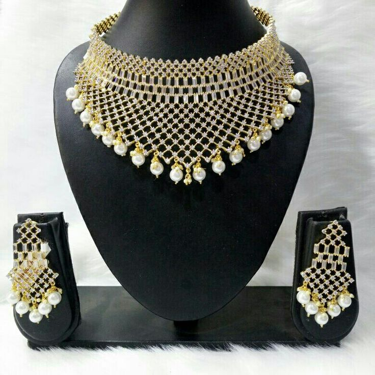 Luxury jewellery manufacturer. Necklace and earing set. Cz Rund and Bhagat Diamond prong sating stons and gold Rhodium. Wholesale prices  labonoart@gmail.com ( Mumbai india)