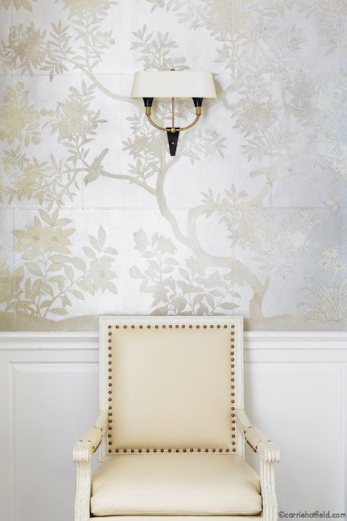 Chinoiserie dining room - upper walls in Gracie Studio hand painted silver Asian scenic wallpaper and lower walls in raised panel wainscoting
