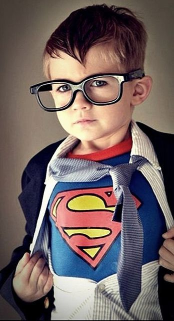 FANTASTIC Halloween costume idea!! We're buying a suit for a wedding he'd probably never wear again otherwise, and what little boy doesn't have a Superman shirt??