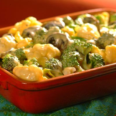 Vegetable Florets with Cheddar Sauce ~ Easy Summer side dish