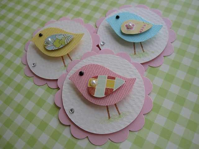 Sweet Pink Blue Bird Embellishments by vsroses.com, via Flickr