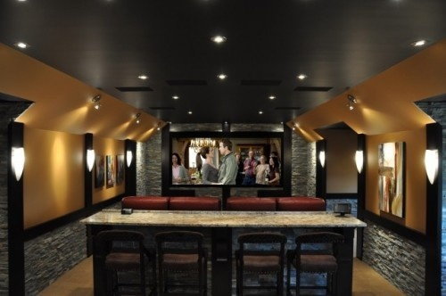 theater: Home Theater, Bar Design, Bar Tables, Theater Rooms, Behind Couch, Movies Rooms, Rooms Ideas, Bar Area, Media Rooms Design
