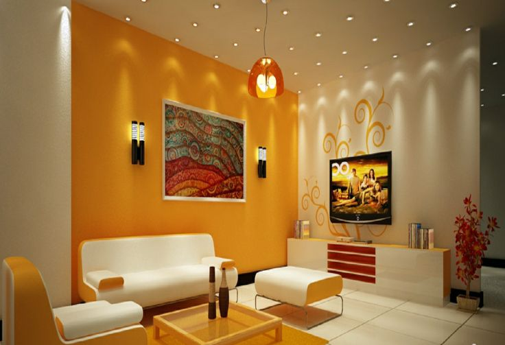 Fascinating paint colors for living rooms bright orange Room wall colour combination