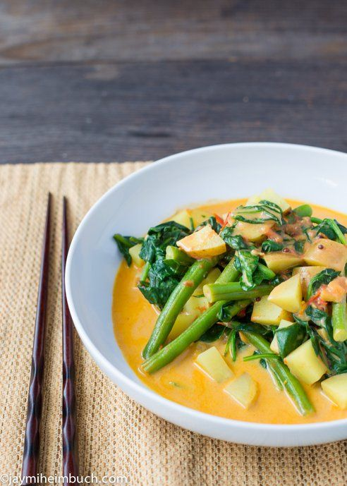 Green beans, potatoes and spinach in coconut curry #Vegan : TreeHugger